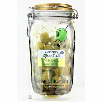 Cornish Olive Stall Basil Pesto Olives