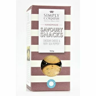 Simply Cornish Savoury Snacks - Cheddar Cheese & Fiery Sea Pepper