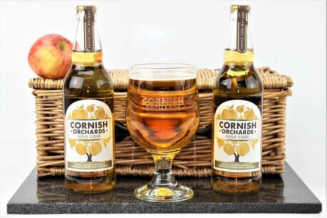 Cornish Orchards Cider & Etched Goblet Gift Set